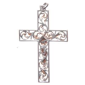 Croce pendente argento e smalto rosa s2