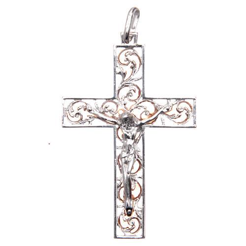Croce pendente argento e smalto rosa 1