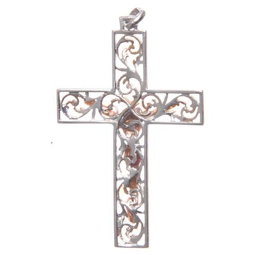 Croce pendente argento e smalto rosa 2