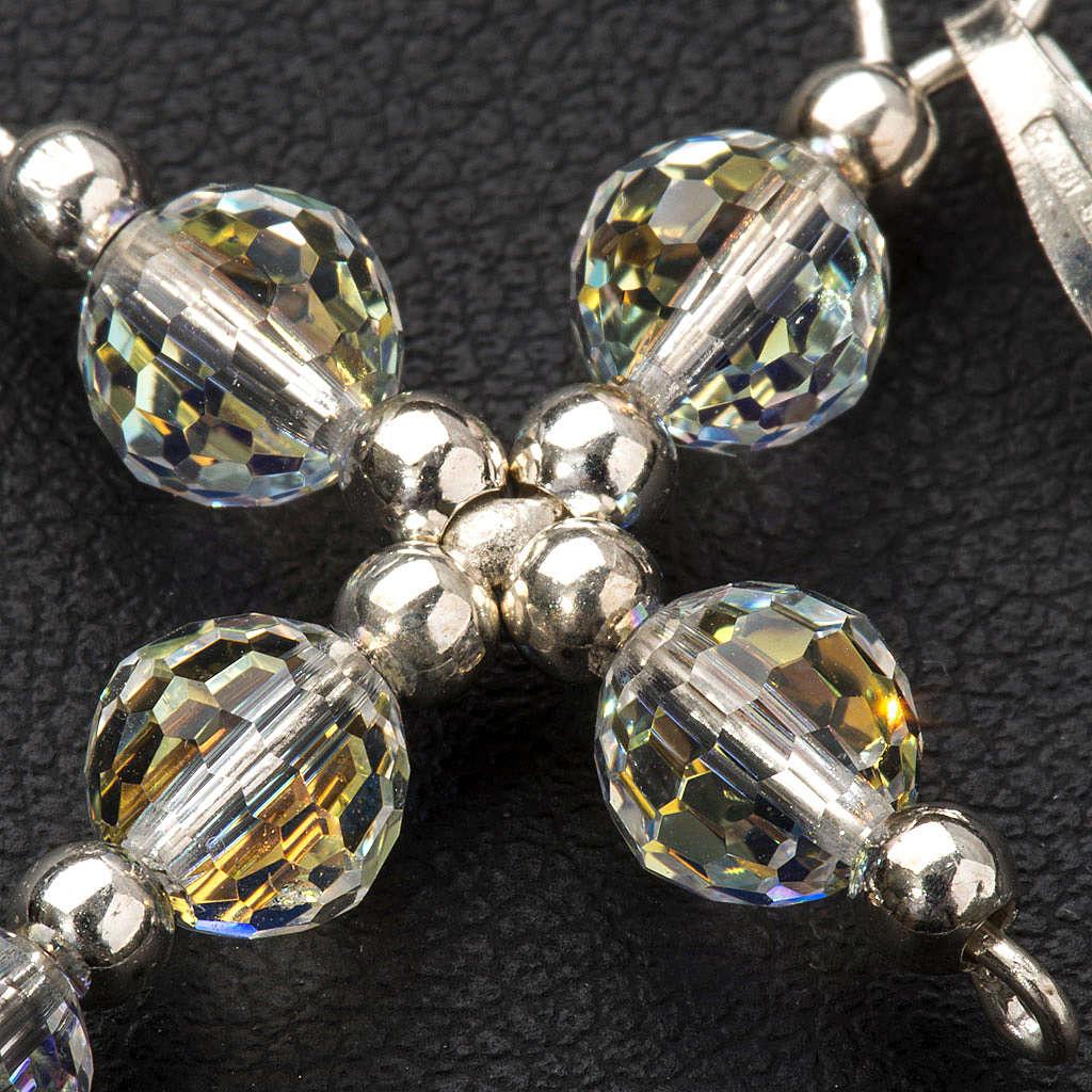 Croce argento e perle Swarovski sfaccettate 4