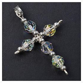 Croce argento e perle Swarovski sfaccettate s2