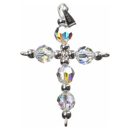 Croce argento e perle Swarovski sfaccettate 1