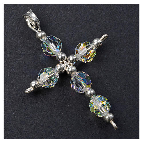 Croce argento e perle Swarovski sfaccettate 2