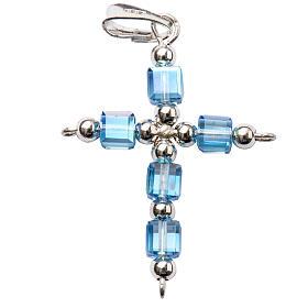 Cruz Swarovski forma de cubo azul claro s1