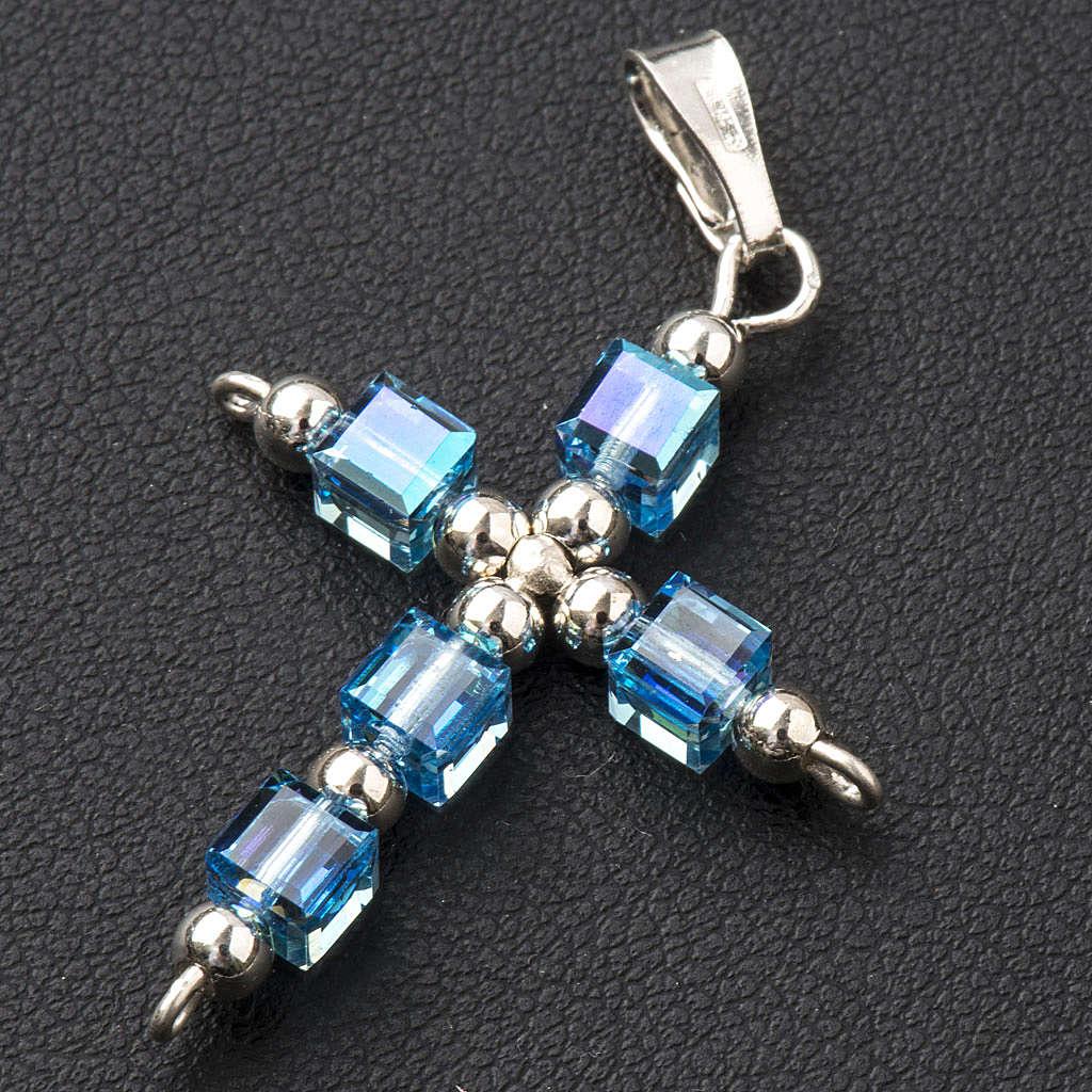Croce Swarovski cubo azzurro 4