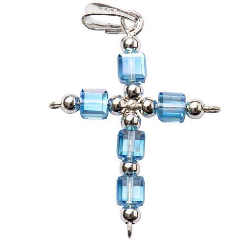 Croce Swarovski cubo azzurro 1