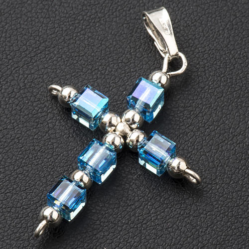 Croce Swarovski cubo azzurro 2