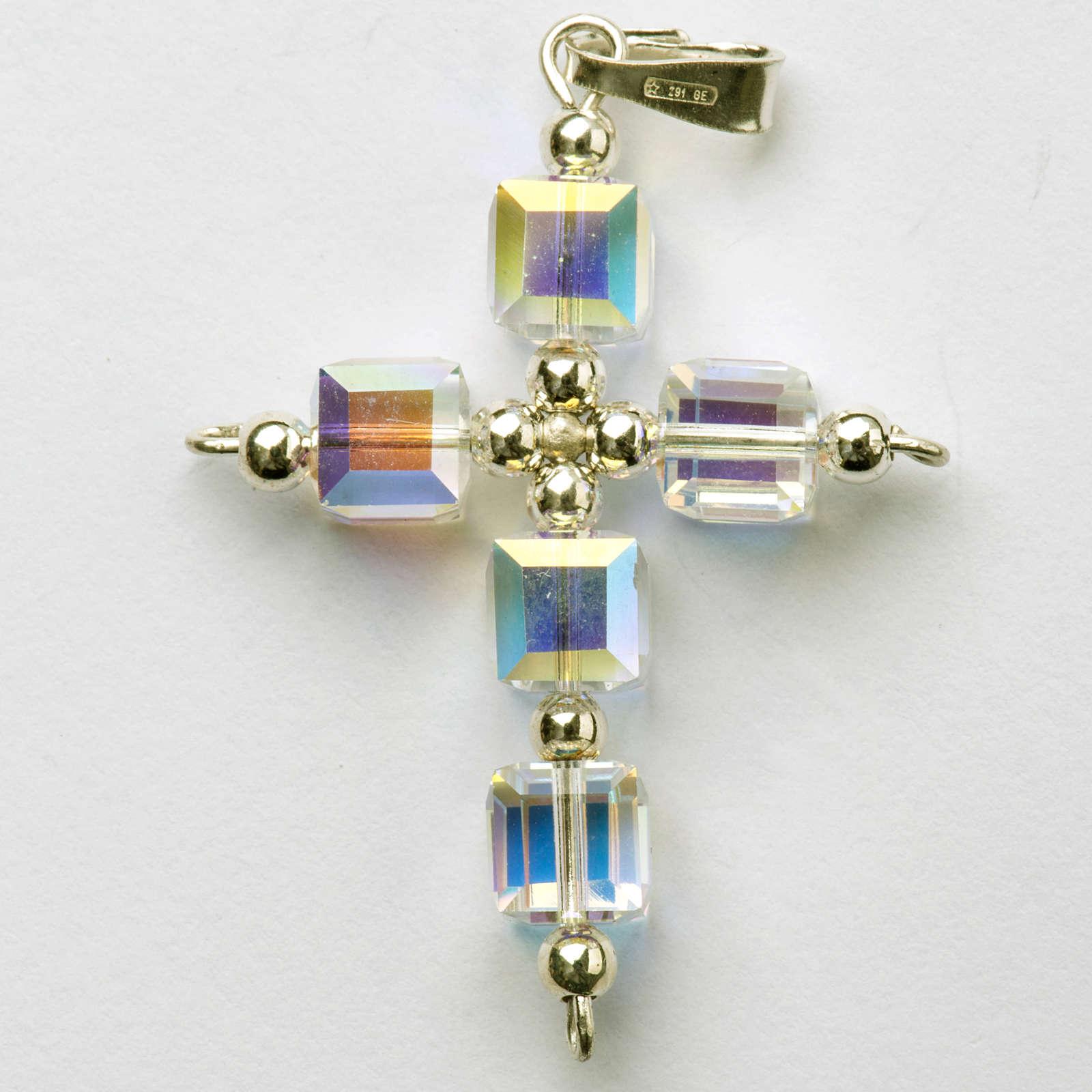 Pendant cross, aurora borealis cubic Swarovski 4