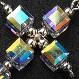 Pendant cross, aurora borealis cubic Swarovski s5