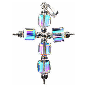 Pendant cross, aurora borealis cubic Swarovski s2