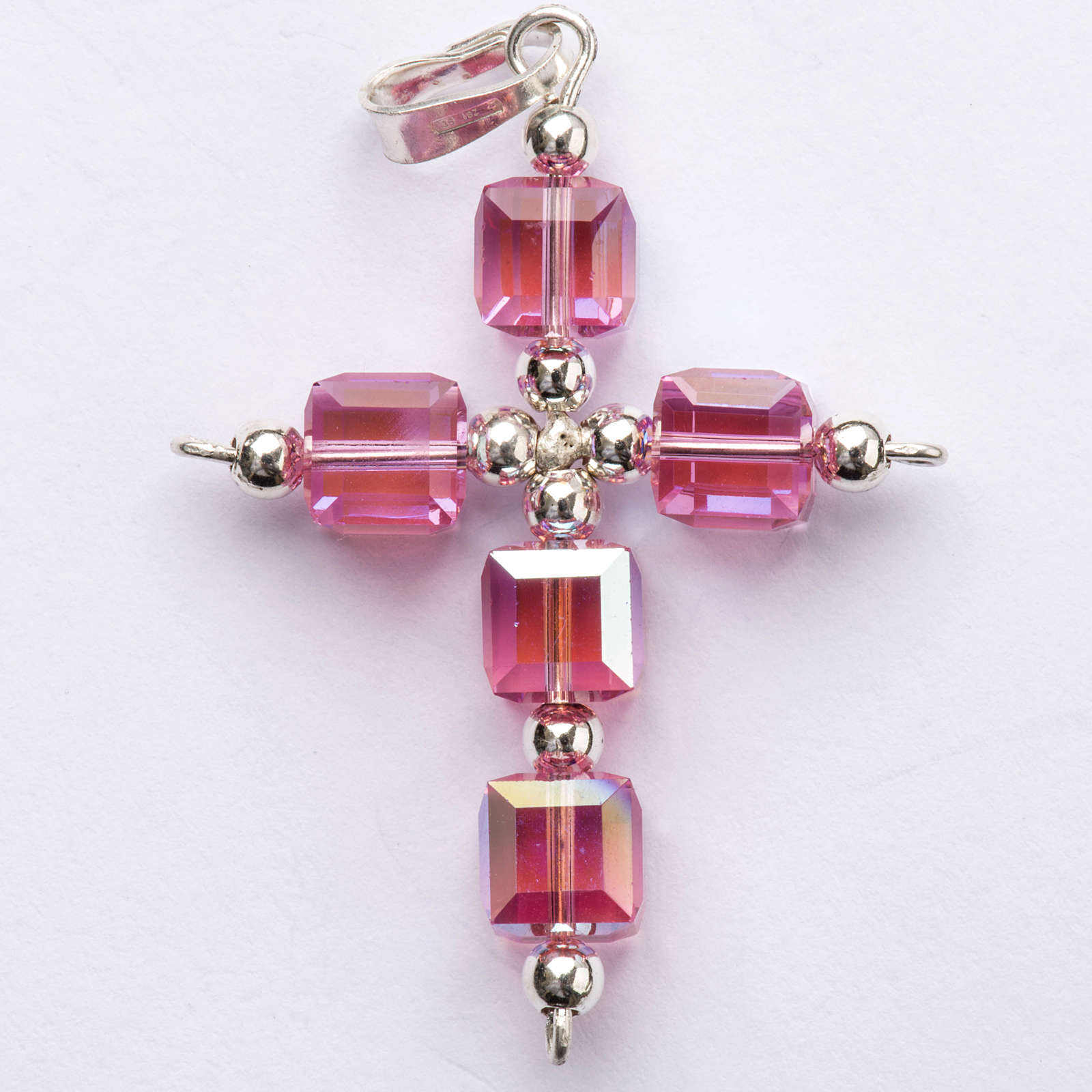 Pendant cross, pink cubic Swarovski 4