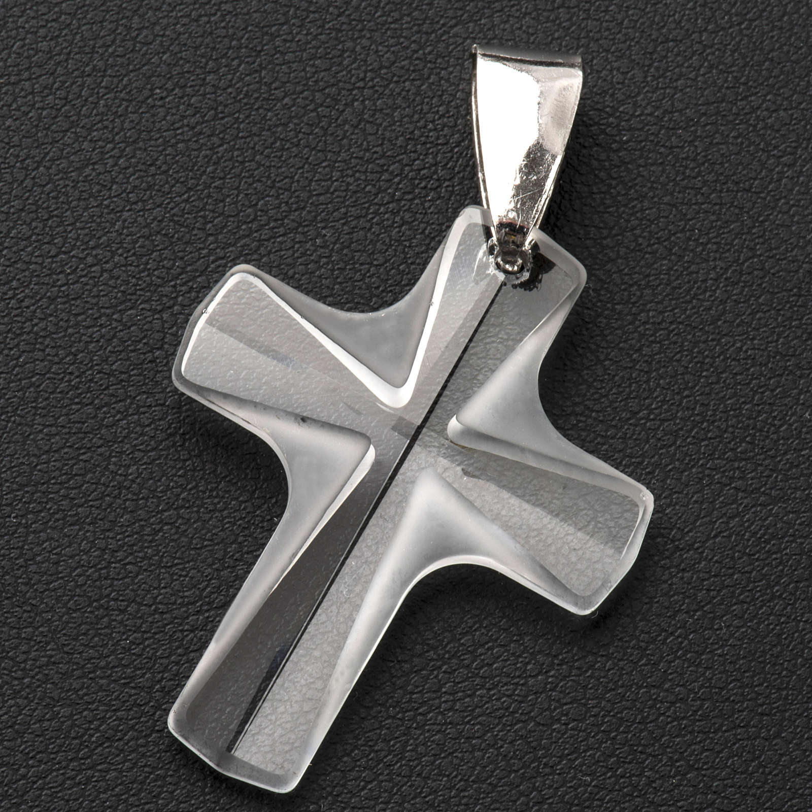 Crystal cross pendant 4x3 cm, satin and shini finishing 4