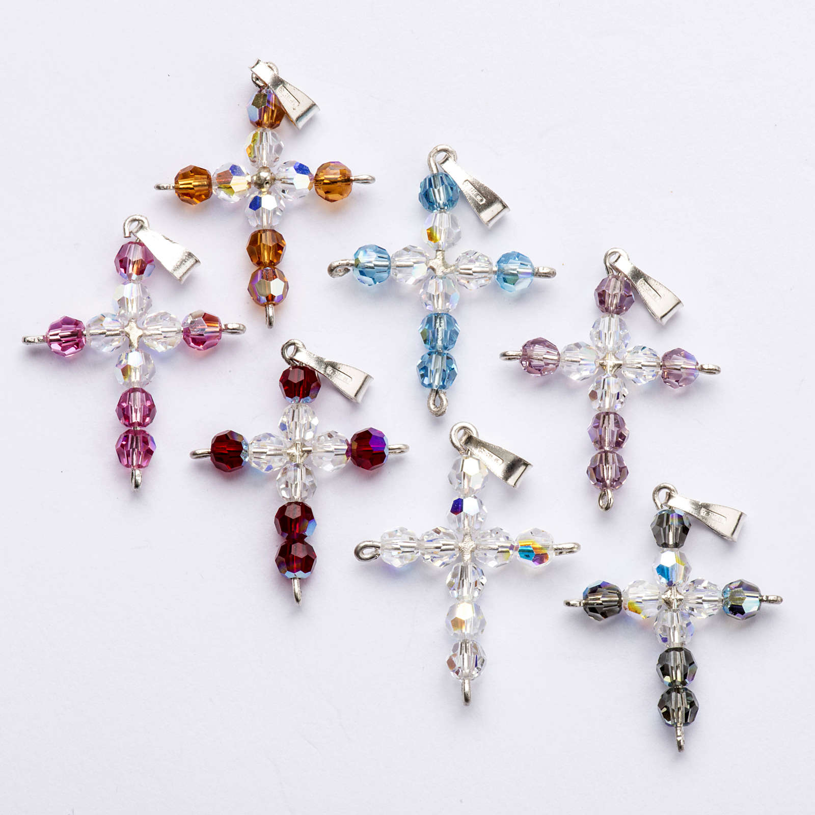 Pendant cross, round Swarovski crystal 4