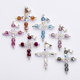 Pendant cross, round Swarovski crystal s1