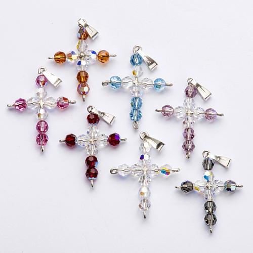 Pendant cross, round Swarovski crystal 1