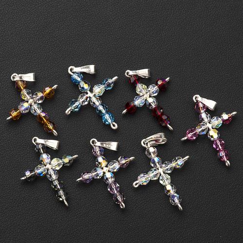 Pendant cross, round Swarovski crystal 2