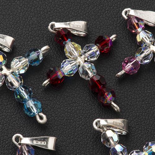 Pendant cross, round Swarovski crystal 3