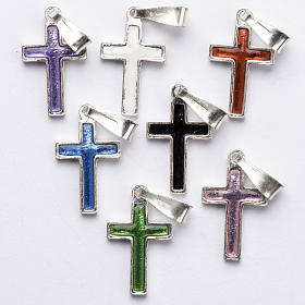 Pendant cross in silver and coloured enamel s5