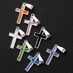 Pendant cross in silver and coloured enamel s8