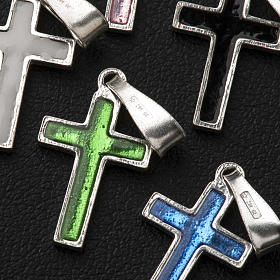 Pendant cross in silver and coloured enamel s10