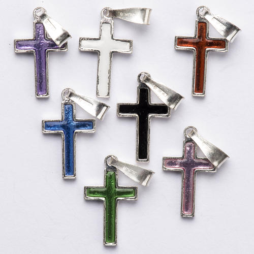 Pendant cross in silver and coloured enamel 1