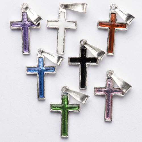 Pendant cross in silver and coloured enamel 5