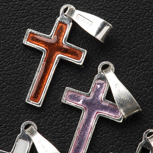 Pendant cross in silver and coloured enamel 11