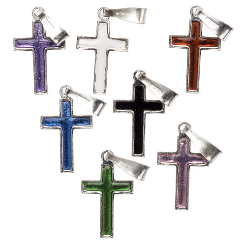 Pendant cross in silver and coloured enamel 2