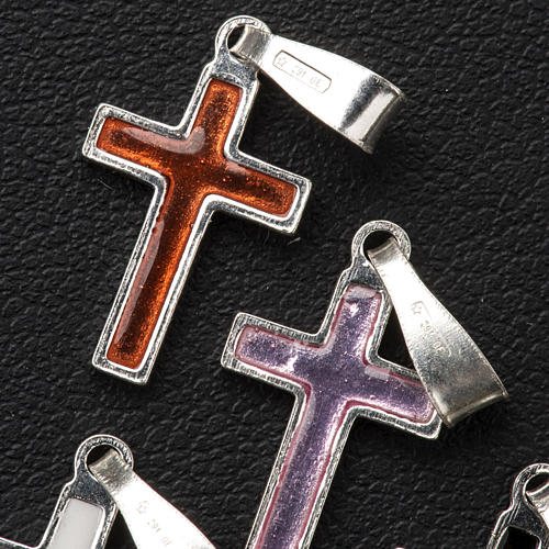 Pendant cross in silver and coloured enamel 12