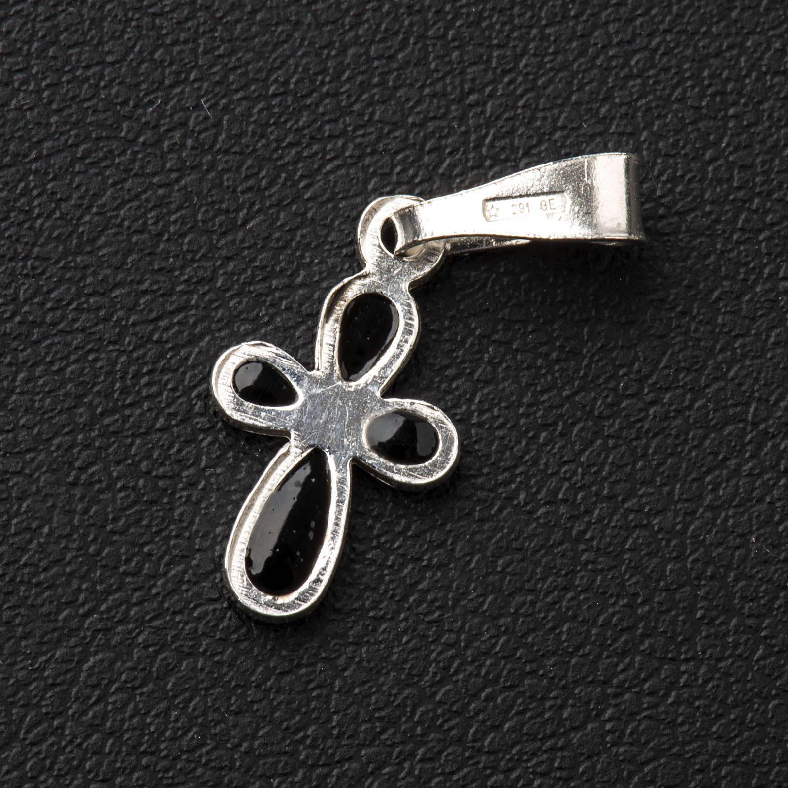 Pendant cross, rounded, in silver 4