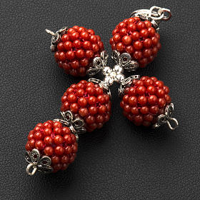 Red coral cross pendant with 1,5 cm pearls s3