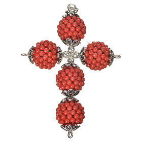 Red coral cross pendant with 1,5 cm pearls s2