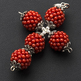 Red coral cross pendant with 1,5 cm pearls s4