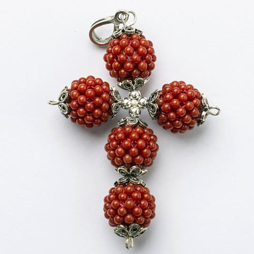 Red coral cross pendant with 1,5 cm pearls 1