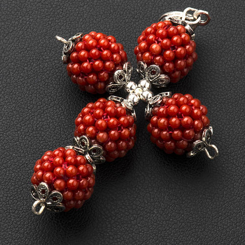 Red coral cross pendant with 1,5 cm pearls 3