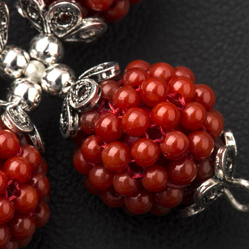 Red coral cross pendant with 1,5 cm pearls 6