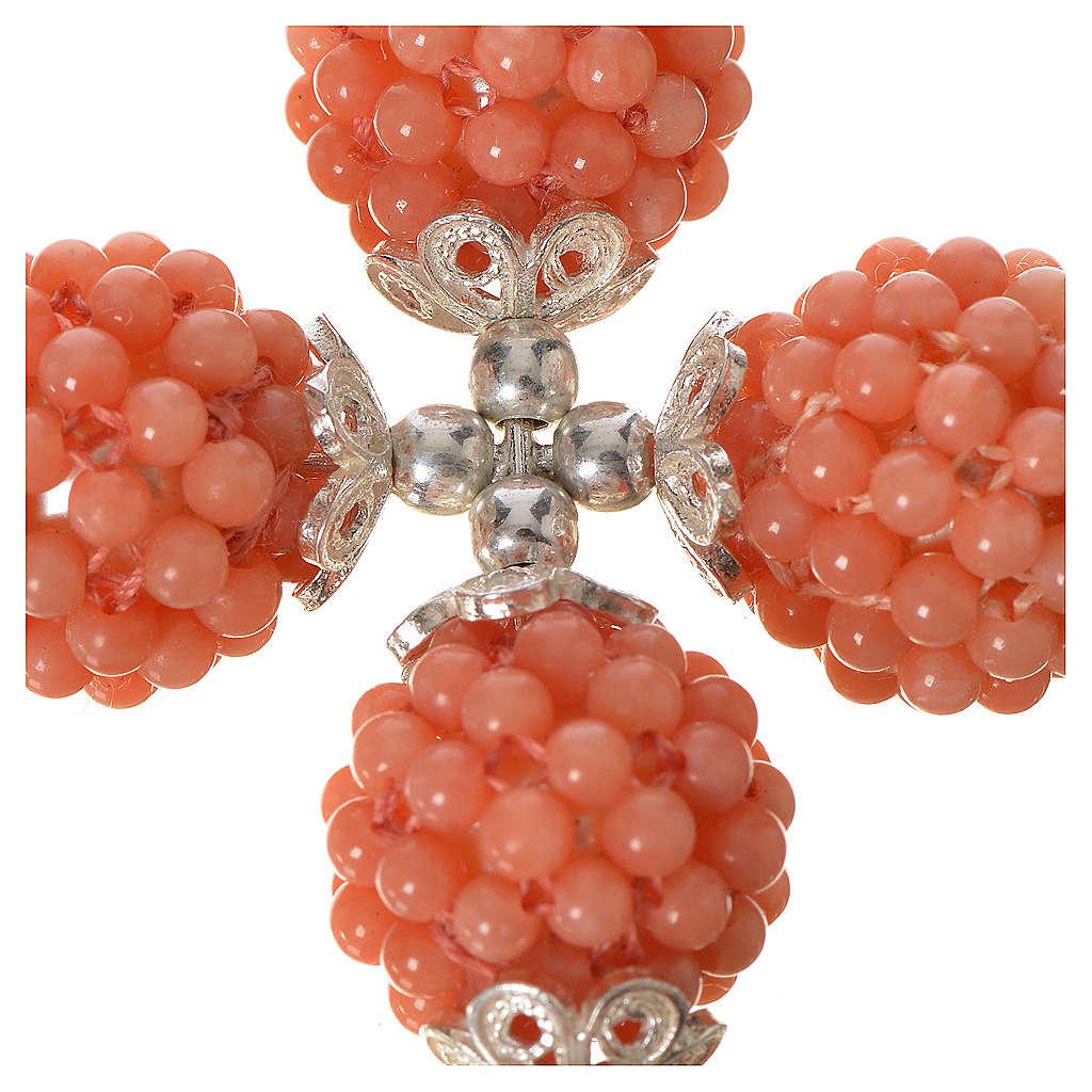Croce corallo rosa palline diam 1,5 cm 4