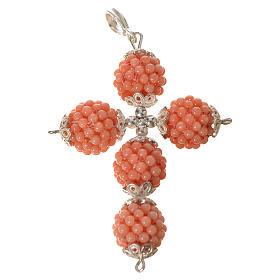 Croce corallo rosa palline diam 1,5 cm s1