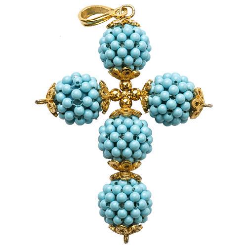 Croce turchese palline diam 1,5 cm 1
