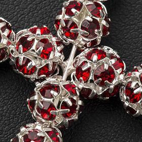 Pendant cross, red Swarovski ball diam. 0,31in s5