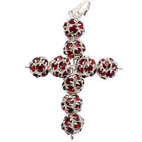 Pendant cross, red Swarovski ball diam. 0,31in s2