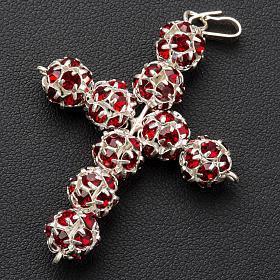Pendant cross, red Swarovski ball diam. 0,31in s4