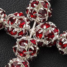 Pendant cross, red Swarovski ball diam. 0,31in s6