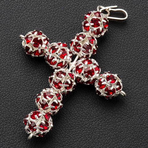 Pendant cross, red Swarovski ball diam. 0,31in 3