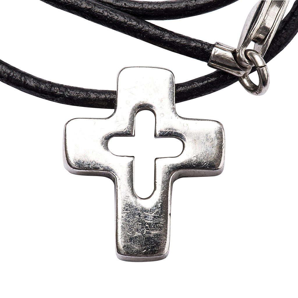 Pendant, silver cross with hole 4