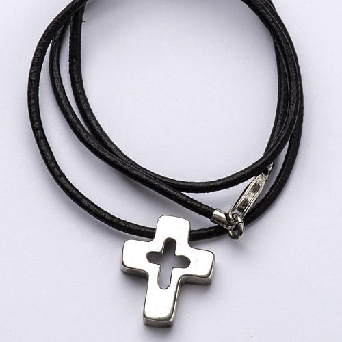 Pendant, silver cross with hole 2