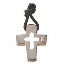 Croce argento con intaglio e zircone s1