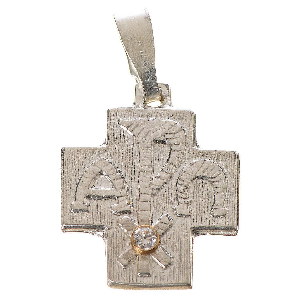 Croce argento 800 alfa omega con zircone 4