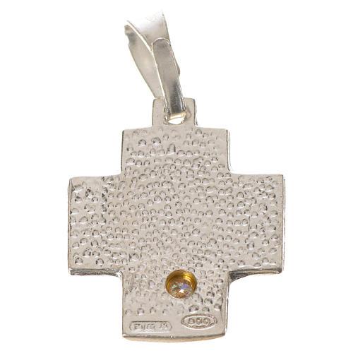 Croce argento 800 alfa omega con zircone 2