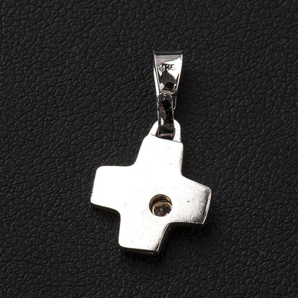 Cruz de plata con zircón 1x1cm 4